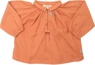 Caramel Baby And Child Embroidered Light Cotton Flannel Top