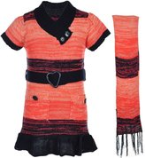 Dollhouse Little Girls' Sweater Dress with Scarf - , 5-6