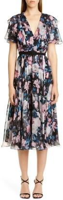 Erdem Floral Ruffle Silk Chiffon Midi Dress
