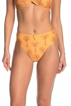 Onia Sabrina Palm Tree Print High Waisted Bikini Bottoms