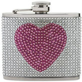 Betsey Johnson Antique Silver-Tone Pave Crystal Heart Flask