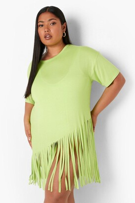 boohoo Plus Tassel Beach Dress