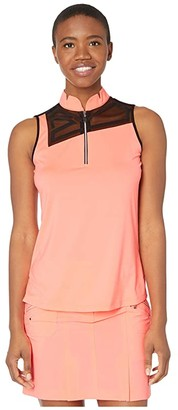 Jamie Sadock Sleeveless Top with Mesh Front Inset (Doll Face) Women's Clothing