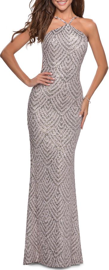 La Femme Sequin Printed Column Halter Gown