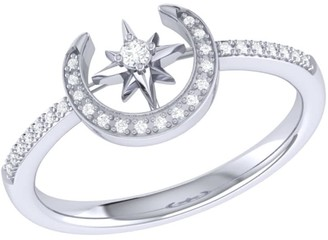 Crescent North Star Ring In Sterling Silver