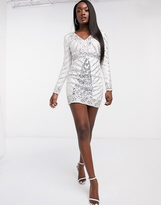 Frock and Frill Club bodycon mini dress in allover embellishment in white