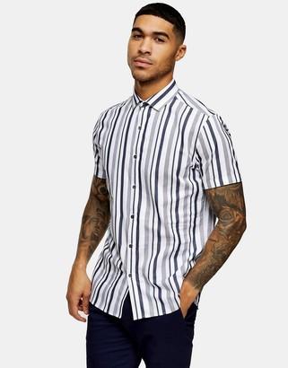 Topman shirt in navy stripe