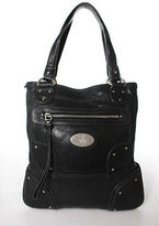 Halston Black Leather Silver Tone Hardware Shoulder Handbag