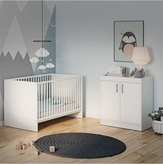 Santorini Cot Bed & Changer Set - White
