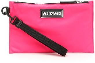 Versace Logo Nylon Clutch Bag
