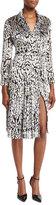ADAM by Adam Lippes Long-Sleeve Leopard-Print Wrap Dress