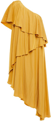 Lanvin One-shoulder Tiered Cady Dress