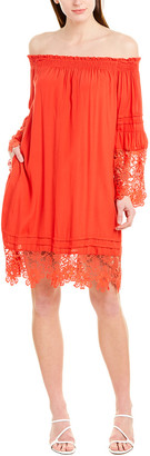 Hale Bob 3/4-Sleeve Off The Shoulder Mini Dress