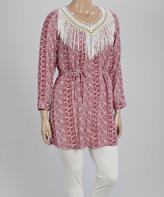 Red & White Geo-Stripe Crochet Fringe Tunic Blue