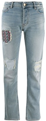 Emporio Armani Ripped Patch Jeans