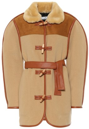 Philosophy di Lorenzo Serafini Leather-trimmed wool-blend jacket