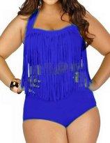 Spring fever for Women Plus Size Retro High Waist Braided Fringe Top Bikini Swimwear(,3XL)