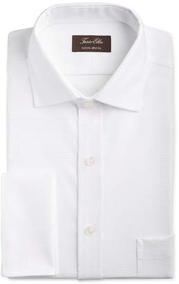 Tasso Elba Men Classic/Regular Fit Non-Iron Stretch Tonal Diamond French Cuff Dress Shirt