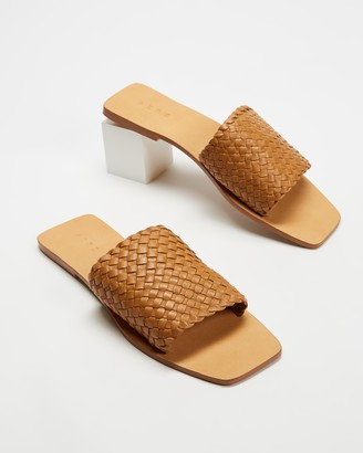 AERE - Women's Brown Sandals - Woven Leather Slides - Size 5 at The Iconic