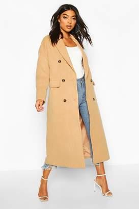 boohoo Tall Double Breasted Longline Wool Coat