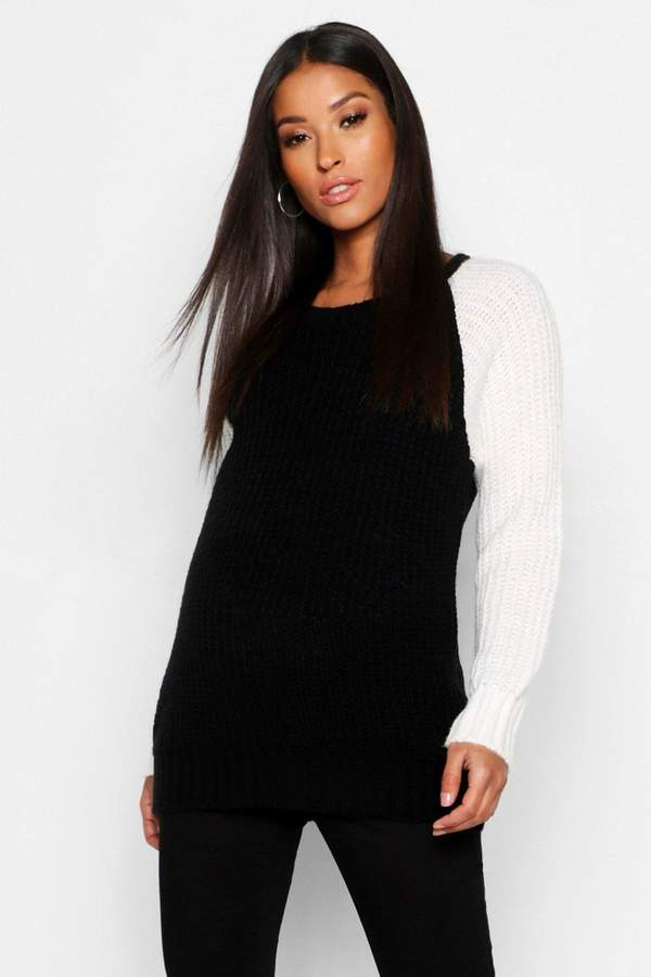 Maternity Colour Block Knitted Sweater