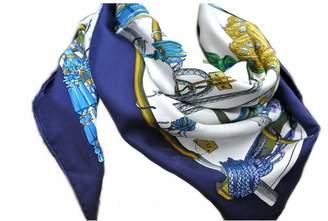 Hermes Navy Silk Scarves