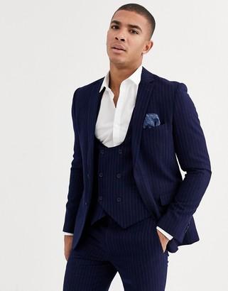 Harry Brown slim fit blue chalk stripe suit vest