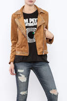 Olivaceous Faux Suede Studded Jacket