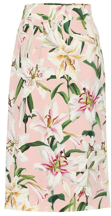 Dolce & Gabbana Floral stretch-crepe pencil skirt