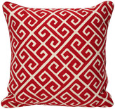 Eastern Pass Hand-Embroidered Bhul Bhulaiya Pillow, Red, Cover and Insert Included