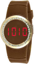 JCPenney TKO ORLOGI Womens Crystal-Accent Brown Silicone Strap Touch Digital Sport Watch