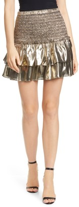 Dolan Eleanor Ruffle Metallic Silk Miniskirt