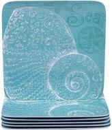 Certified International Aqua Treasures Set of 6 Melamine Dinner Plates