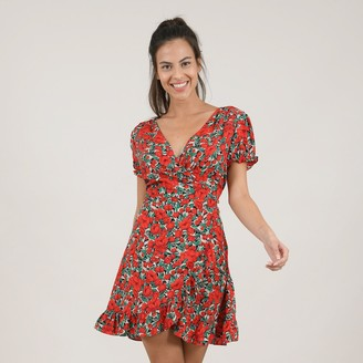 Molly Bracken Wrapover Mini Dress in Floral Print with V-Neck and Short Puff Sleeves