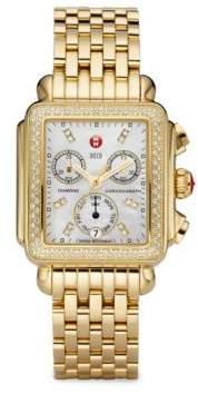 Michele Women's Deco 18 Diamond, Mother-Of-Pearl & Goldtone Stainless Steel Bracelet Watch