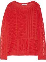 Sandro Sonic Paneled Open-Knit Cotton Sweater