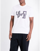 Y3 Line-print Logo Pure-cotton T-shirt