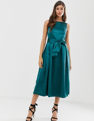 Closet London Closet v back full skirt dress-Green