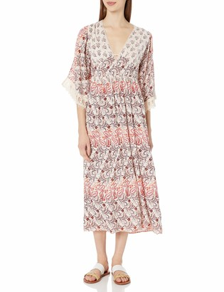 Angie Women's 3/4 Sleeve Printed Maxi Dress with Lace
