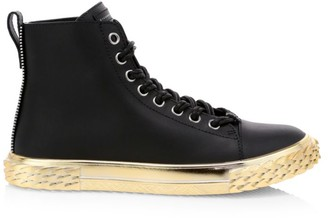 Giuseppe Zanotti Blabber Metallic-Trim Leather High-Top Sneakers