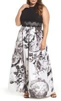 Sangria Plus Size Women's Floral Print Ballgown
