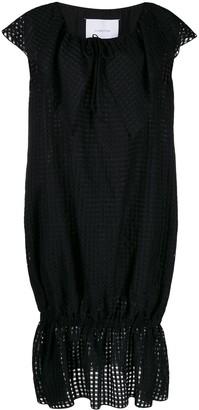 Pushbutton short-sleeve midi dress