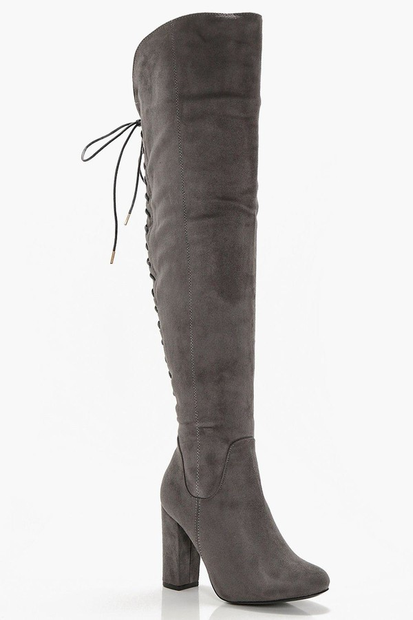 boohoo Lace Back Block Heel Over The Knee Boots