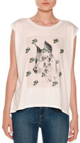 Stella McCartney Dog Face & Floral Crewneck Tee, Pure White