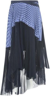 Sacai Long Pleated Printed Skirt