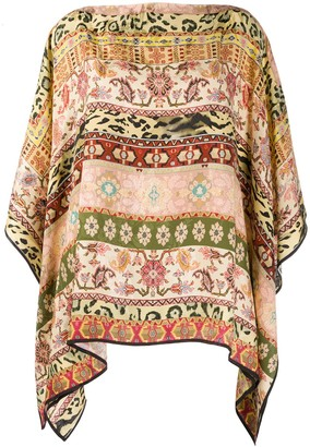 Etro Mixed-Print Wide Sleeve Top