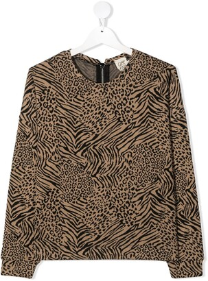 Caffe' D'orzo Long Sleeve Leopard Print Sweater