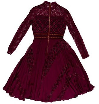Self-Portrait Lace Pattern Midi Length Dress