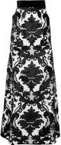 Ronald Van Der Kemp - Velvet-appliquéd Silk-blend Maxi Skirt - Black