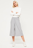Missguided Grey Crepe Silky Culottes